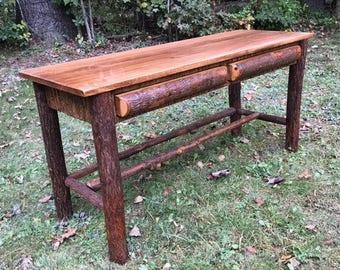 Handcrafted Rustic Furniture, Hickory Log Writing Desk, Lodge Furniture, Office Furniture, Mountain Furniture, Table, Vanity, Bark, Bedroom