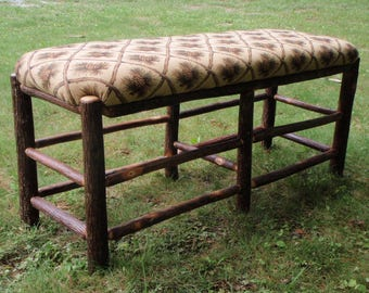 Rustic Furniture Hickory Log Upholstered Bench Hickory Furniture Ottoman, Upholstered Lodge Seating