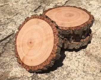 6 Rustic Live Edge Wooden Beverage Coasters - Natural Wood Drink Coaster - Wood Slice - Wood Coasters - Barware - Cabin Decor - Wedding Gift