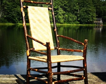 Hickory Highback Rocker with Handwoven Cane Seat and Back, Adirondack Furniture, custom furniture, rocking chair,Rustic Cabin Furniture