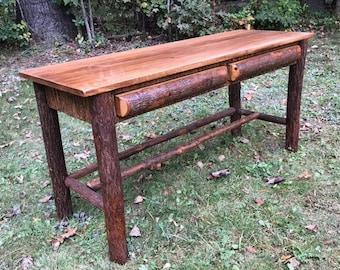 Handcrafted Rustic Furniture, Hickory Log Writing Desk, Lodge Furniture, Office Furniture, Mountain Furniture, Table, Vanity, Bark, Bedroom