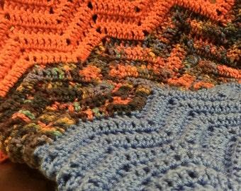 Blue/Orange/Multicolored Chevron Afghan Throw