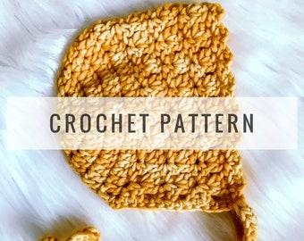 Eleanor Bonnet CROCHET PATTERN / Crochet Pattern / Baby Bonnet / Newborn / Infant / Bonnet / Baby Hat / Photo Prop / PDF