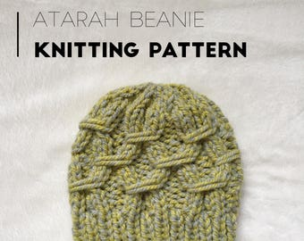 Knit Beanie PATTERN / The Atarah Beanie / Knit Pattern / Knitting Pattern / Hat Pattern / Instant Download Pattern / PDF