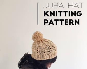 Knit Juba Hat PATTERN / Knit Pattern / Knitting Pattern / Hat With Pom Pom / Instant Download Pattern / PDF