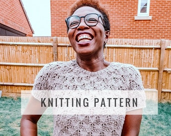 Arewa short sleeve lace pullover PATTERN / Knit Pattern / Pullover Pattern / Sweater Pattern / Lace Pattern / Instant Download Pattern / PDF