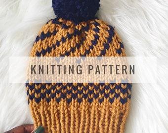 Knit Shuku Slouch Beanie PATTERN / Knit Pattern / Knitting Pattern / Hat Pattern / Slouch Beanie / Instant Download Pattern / PDF