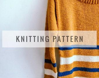 Ibukun Striped Sweater PATTERN / Knit Pattern / Knitting Pattern / Sweater Pattern / Stripped Sweater / Instant Download Pattern / PDF
