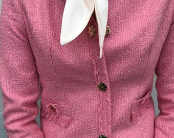 f81633e5c046 BOUCLE SHORT JACKET   chanel style coral pink color wool blend   look nordic fashion womens wear tweed wedding wedding guest suit pink gold