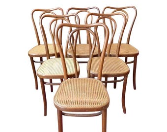 Vintage Bentwood and Cane Cafe/Bistro Dining Chairs- Set of 6