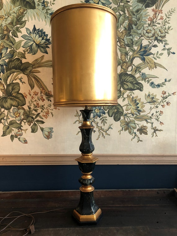 Grand Scale Vintage Table Lamp With Gold Drum Shade