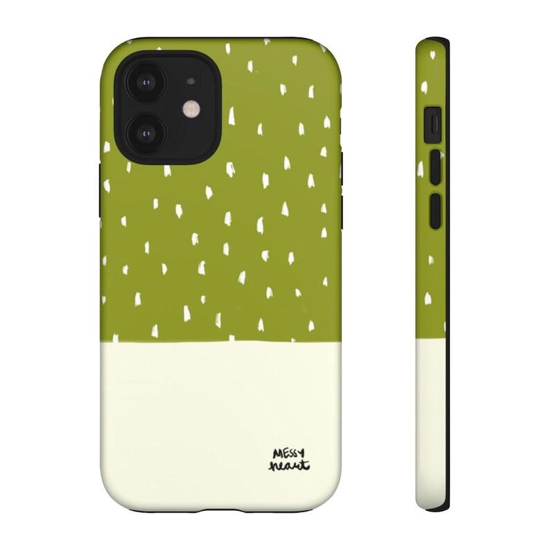 artsy boho style white dots color block Avocado green color block dots iPhone or Samsung Tough Case MESSYheart original design