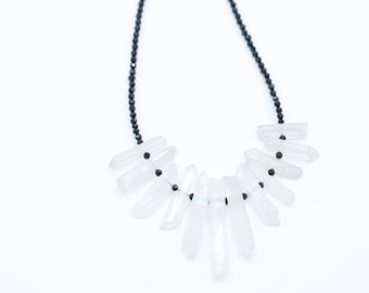 """Raw Crystal and Black Spinel Necklace 16"""""""