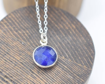 Faceted Lapis Pendant Sterling Silver 16""