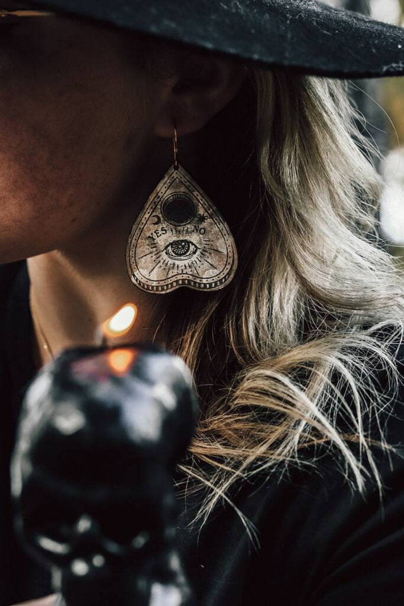 Planchette shaped spirit earrings  laser engraved wood with image 0