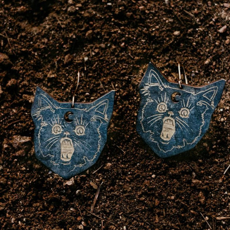 Black cat earrings  laser engraved wood with hand-painted image 0