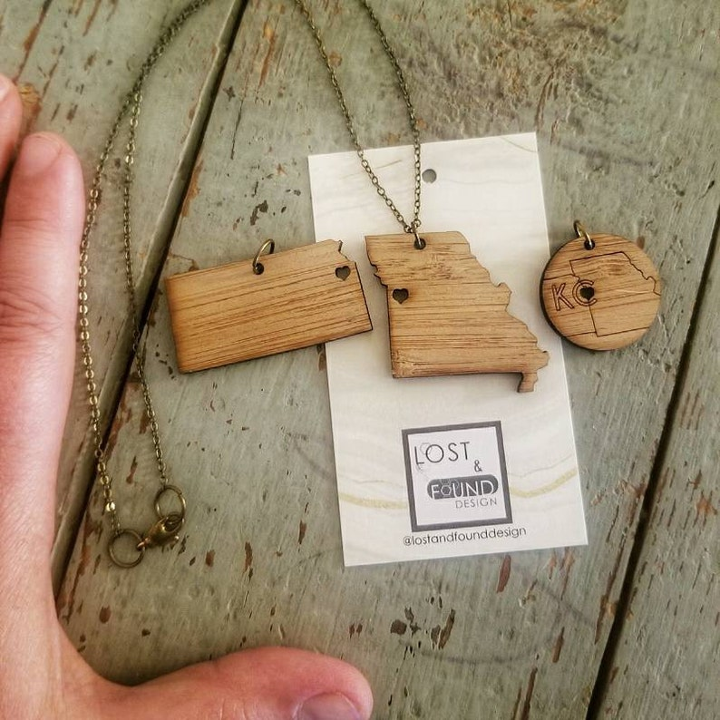 Your choice Kansas City wood charm necklace on 18 inch bronze image 0