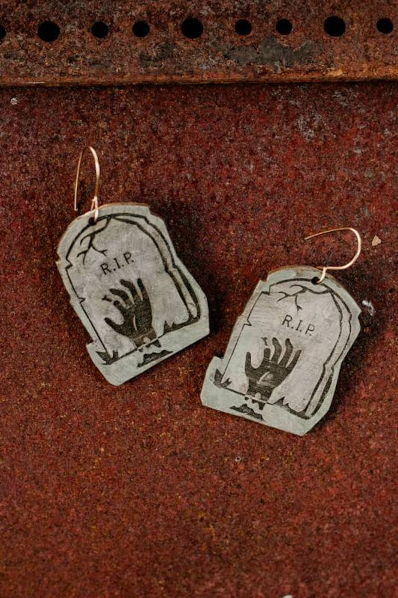 Zombie hand tombstone earrings  laser engraved wood with image 0