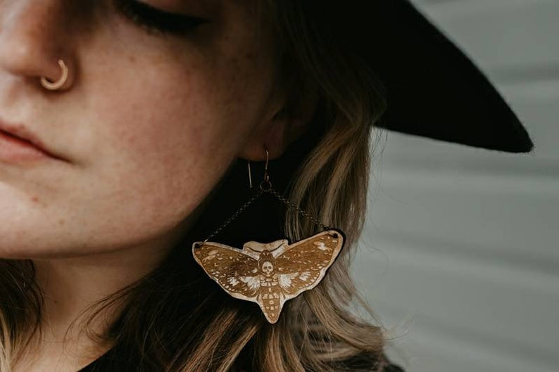 Skull moth shaped earrings  laser engraved wood with image 0