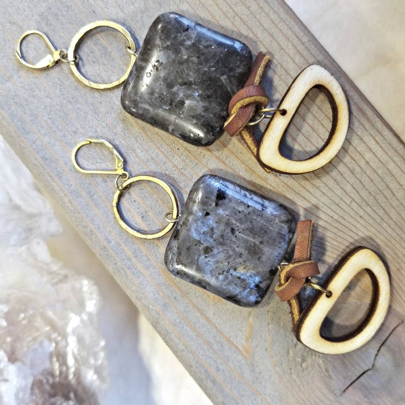 witch wiccan fashion style Leather hand drop earrings in sparkle gold black design with coin shell bead witchy