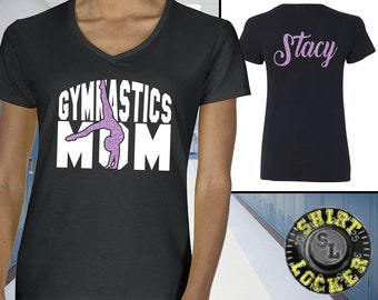 c085585160 Personalized Gymnastics Mom Glitter Design Womens Cotton V-Neck Tee Shirt  By Gildan Quality Wear Support Your Favorite Tumbler