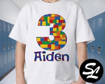 c1b0261b9c9 Building blocks Inspired Personalized Building block Themed Birthday White  Tee Shirt Party Shirt blocks Birthday Custom Shirt