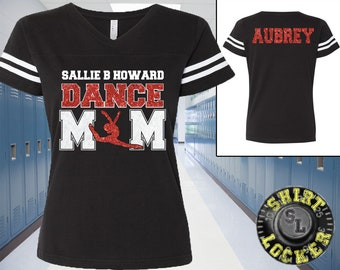 344b3de1a72e Custom Name Dance Mom with Personalization Glitter Women s Tee Support Your  Dancer and School Any Name and Colors