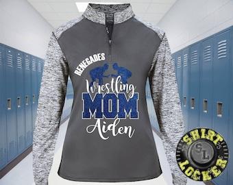 Personalized Wrestling Mom Glitter Design Women's Performance 1/4 Zip Sport Shirt Team Spirit Wear Support Your Favorite Player