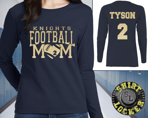 3bc0def59 Personalized Custom Football Mom Glitter Design Womens Tee