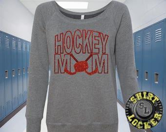 Hockey Mom Glitter Design Womens Off the Shoulder Sweat Shirt, Hockey Spirit Wear Glitter Bling Design Mother Any color combination