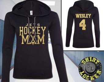 Hockey Mom Glitter Design Lightweight Womens Hoodie Tee Shirt Anvil Quality Team Spirit Wear Support Your Favorite Player