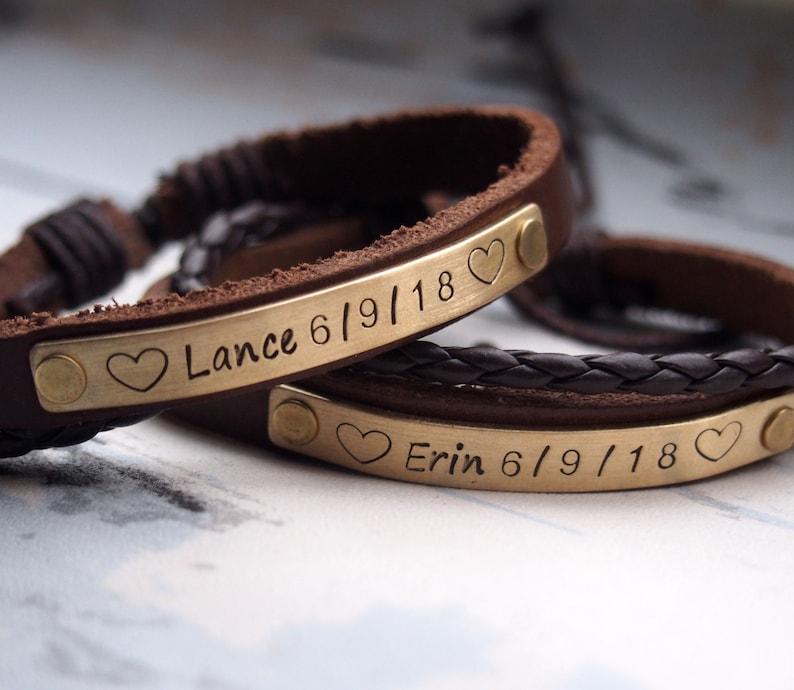 3 year Anniversary leather bracelet leather bracelet image 0