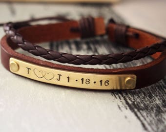 Personalized bracelet, customized bracelet, leather bracelet, Anniversary gift for him, Engraved bracelet, Brown leather bracelet boyfriend