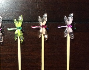 Dragonfly Cupcake Toppers, Dragonfly Lover Appetizer Skewers, Dragonflies Party Theme Decor Toppers, Food Picks, Stirrers-6/order