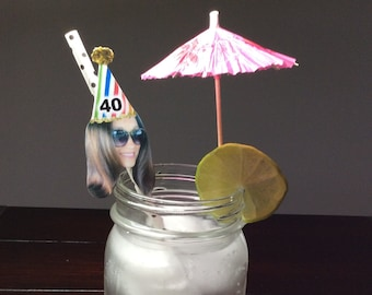 6 Custom Face Straws with Party Hat Image, Personalized Photo Picture Straws Pic Straws, Funny 30th Birthday for Him, 20th, 40th, 50th, 60th
