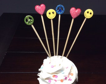 Two Groovy Cupcake Toppers, Flower Child Birthday Party Decor, Retro Skewers Hippy, 60s, 70s Party Picks Peace Sign Love Happiness -6/order