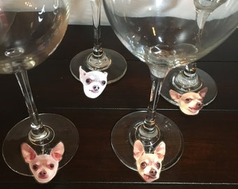 My Dog's Face Custom Photo Wine Charms Your Dog Cat Picture Wine Charms Funny Perfect Gift for Wine Dog Cat Animal Lover Great Idea-4/order