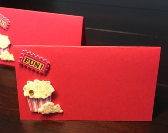 Movie Place Cards, Popcorn Placecards, LA, seating cards, food labels, food tents, emmys, movie lover producer -10/order
