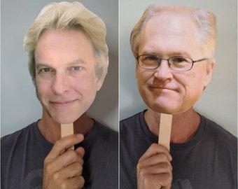 No Agenda Meetup Decor Large Faces on a Stick, Heads on Sticks - Set of 2, 1 Adam Curry and 1 John C Dvorak, Podcast Face Fans