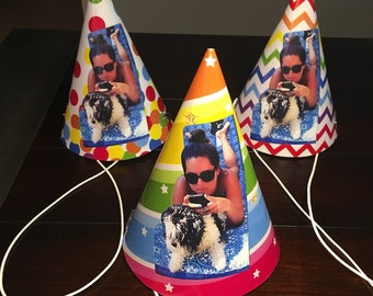 Photo Party Hats with your picture on them, Personalized Face Adult Party Hat, 30th Birthday for Him, 21st, 40th, 50th, 60th-6/order