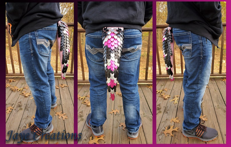 Small Pink JayeCreations and Frost Design on Pastel Pink Yarn Scalemail Dragon Tail Black