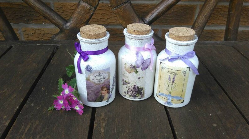 Decorative jars for shabby chic bathroom cork top floral etsy