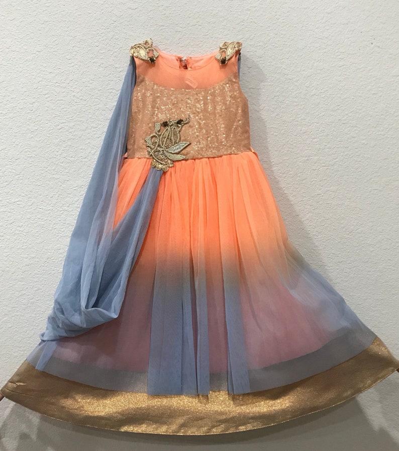 ec7dd94c8ba Orangish Peach and Grey floor length dress for Girls  Baby