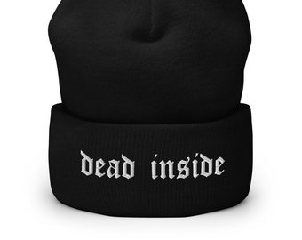 Emo embroidered knitted black beanie!
