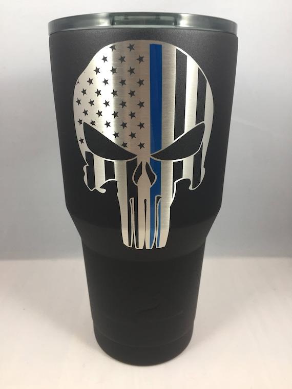 Thin Blue Line Punisher Powder Coated Yeti Tumbler Punisher Etsy