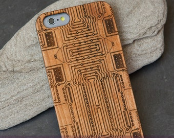 """Case for iPhone 6, 6 s with cherry-wood - Edition, laser-engraved """"Board"""""""