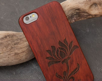 """Case for iPhone 6, 6 s with real rosewood-wood - Edition, laser-engraved """"Stilblüte"""""""
