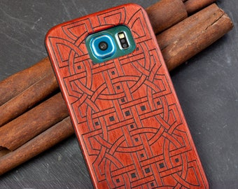 """Case for Samsung Galaxy S6 with rosewood Edition, laser-engraved """"Relations"""""""