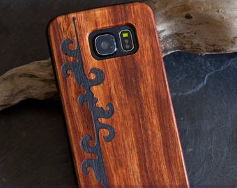 """Case for Samsung Galaxy S6 edge with rosewood finish, laser engraving """"Page decor"""""""