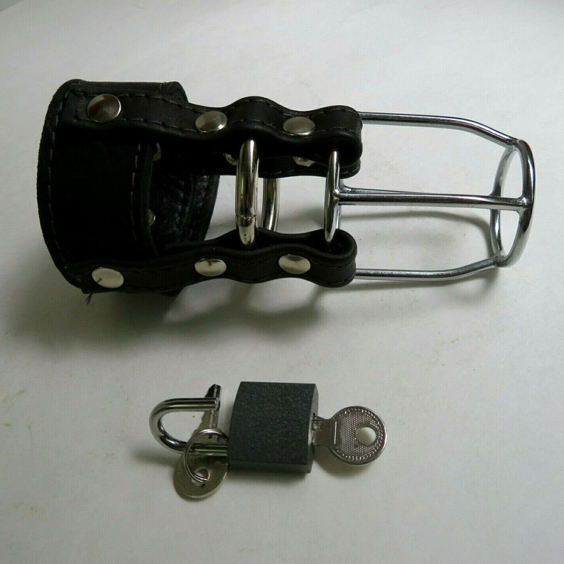 MATURE Male Chastity Locking Leather and Metal Chastity image 0